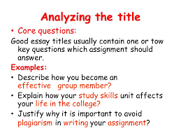 academic writing fatima alshaikh a duty that you are assigned to analyzing the title core questions good essay titles usually contain one or tow key questions