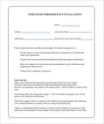 7+ Sample Performance Evaluation Forms | Sample Templates