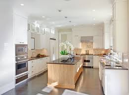 Beautiful White U Shaped Kitchen Designs With Nice Wooden Kitchen Island