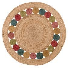 halaka jute multi circles rug 120cm