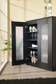 Decorating black shoe cabinet with doors pictures : modern black cabinet for shoe storage idea with frosted glass ...
