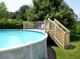 image of above ground pool stairs decks