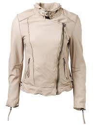 keeley leather biker jacket in pale stone