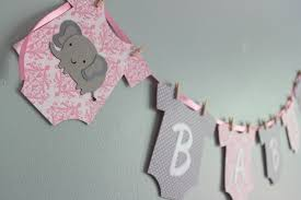 Baby Shower Banner Elephant Baby Shower Banner Its A Girl Pink And Gray