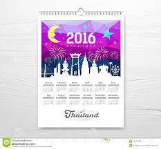 Travel Calendar Calendar New Year Travel Thailand With Silhouette Landmark Stock