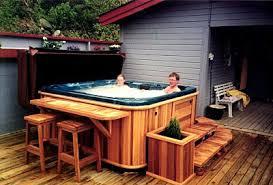 hot tub deck. Cedar Hot Tub Is Now Retro, Apparently! Deck