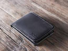 men s bifold wallet dark leather personalized gifts for him gifts for him