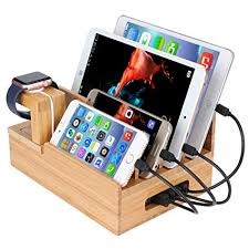 bamboo wood charger station for apple watch charging dock stand holder iphone cradle