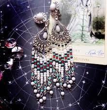 beaded tribal chandelier earrings white
