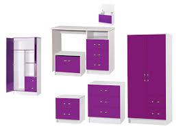 Marina Purple White High Gloss Bedroom Furniture  Sets Wardrobe Drawers  Bedside