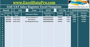 Vat Calculation Formula In Excel Download Download Uae Vat Sales Register Excel Template Templates
