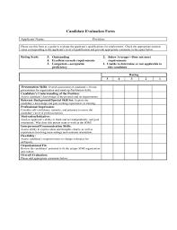 candidate assessment form sample candidate evaluation form sample free download