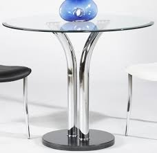 36 Inch Round Dining Table With Black Marble Base And Chrome Legs