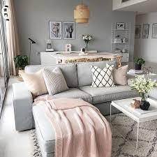 grey and blush pink living room