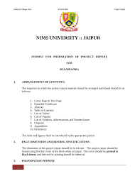 Format For Preparation Of Project Report For Bca Mba Msc