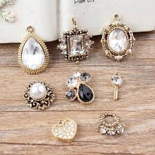 new arrived rhinestone decoration alloy gold color water droplets shape crystal pendants metal charms diy
