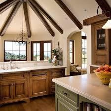 Natural Maple Kitchen Cabinets In Mediterranean Style