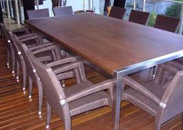 soilid timber top table with stainless steel ends dining tables brisbane