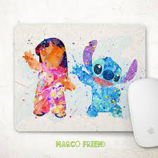 disney office decor. Disney Lilo And Stitch Watercolor Mouse Pad - Painting Mousepad Accessories Office Decor O