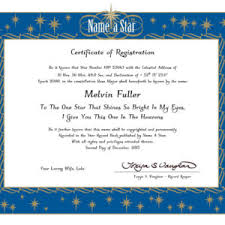 name a star instant certificate
