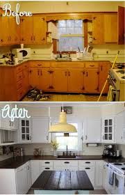 kitchen cabinets painted white before and after30 Pretty Before And After Kitchen Makeovers  httpcentophobe