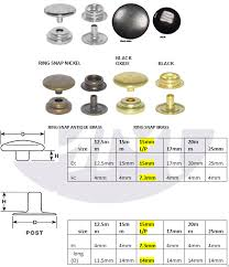 Ring Snap Size Chart Grommet Mart Size Chart Rings