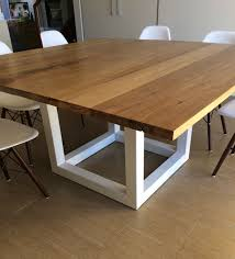 square wood dining tables. Plain Dining Recycled Messmate Timber Square Dining Table With White Metal Legs Intended Square Wood Dining Tables C