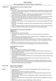 Senior Pricing Analyst Resume Samples Velvet Jobs