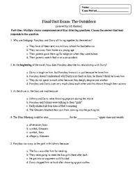 the outsiders question final unit exam plus essay by your best the outsiders 40 question final unit exam plus essay