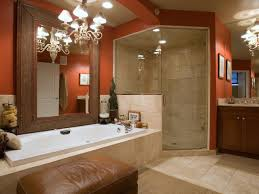 Install Classic Chandeliers to Decorate Beige Bathroom Color Schemes near  Oak Vanity and Closed Shower Room
