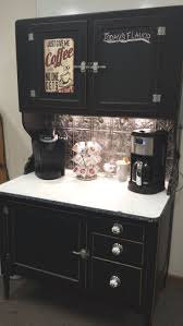 Hoosier cabinet turned into coffee bar. Chalkboard painted door ...