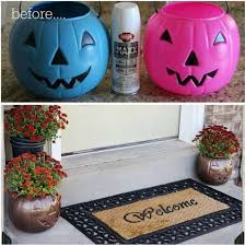 turn plastic pumpkins into outdoor planters these are the best fall craft ideas