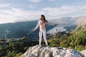 beautiful woman relax in mountains on vacations monte kotor stock photo 105515567