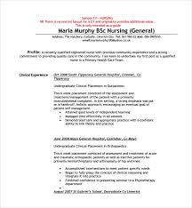 Sample Nurse Cv Template 8 Free Documents Download In