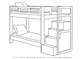 cartoon bunk bed. Learn How To Draw A Bunk Bed (Furniture) Step By : Drawing Tutorials Cartoon N