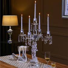 5 arms large crystal hurricane candle holder stand candelabra for wedding table centerpieces decor 90cm tall taper candle holders tea candle holder from