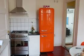 small kitchen refrigerator. Small Kitchen With An Orange Smeg Refrigerator Gorgeous Photo Refrigerators For Kitchens W