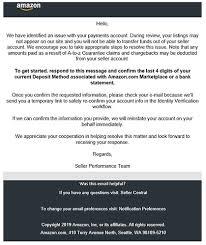 Phishing Scam Seller Performance Phishing Scam General Selling