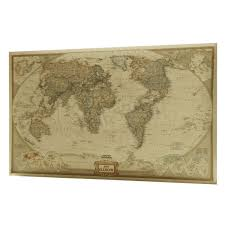 Retro Kraft Paper World Map Antique Poster Picture Wall Art Chart School Home