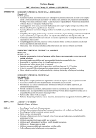 Emergency Medical Technician Resume Samples Velvet Jobs