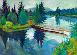 original oil painting of forest landscape river and bridge modern impressionism stock photo