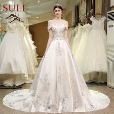 embroidered wedding dress. SL 83 Designer Wedding Bridal Gowns Satin Embroidered Pearls Bling