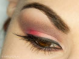 apply mix of brown and purple eyeshadows underneath the eye where you used light brown eye pencil line your upper lash line with a gel liner