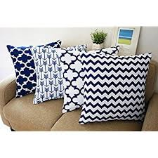 decorative throw pillows for couch. Simple Throw Blue And White Howarmer Square Cotton Canvas Decorative Throw Pillows  Cover Set Of 4 Accent On For Couch O