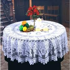 decoration inch round cotton tablecloth top dining room polyester champagne table intended for plan white