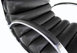 chrome and leather mid century modern lounge chair ottoman for