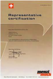 Сертификаты и дипломы Компания Авто Трейд  Сертификат menzi muck