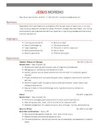 Hotel Resume Example Hospitality Examples No Experience Sales