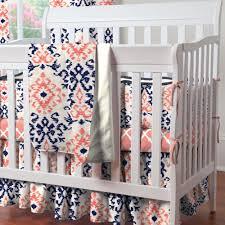 navy and c ikat mini crib bedding