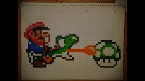 How To Draw Pixel Small Mario And A Green Yoshi Collect 1 Up